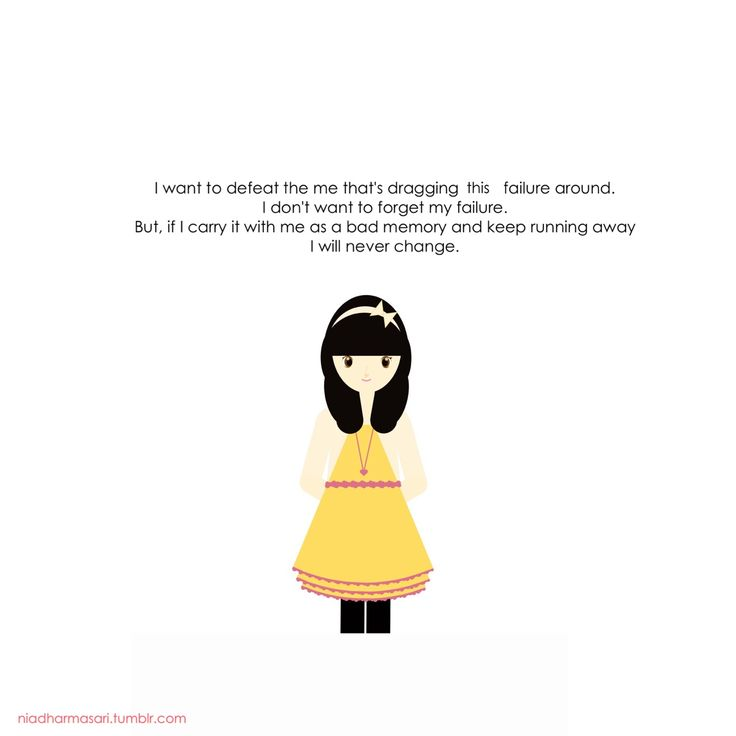 """Cute Doodles Illustration — """"I want to defeat the me that's dragging this..."""