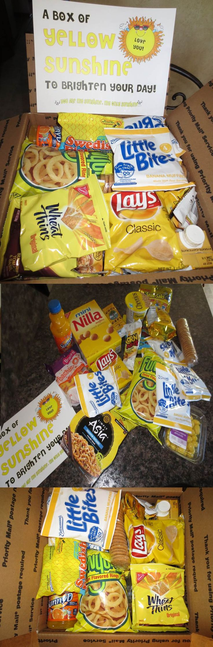 COLLEGE GIFT. My first 'themed' care package being sent off to college. A BOX OF YELLOW SUNSHINE! Everything in the box is yellow, what a way to brighten the day!