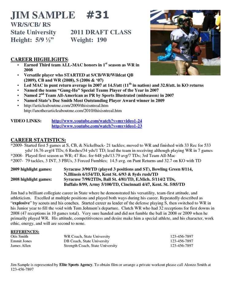Sample Resume For College Football Player. Resume. Ixiplay Free ...