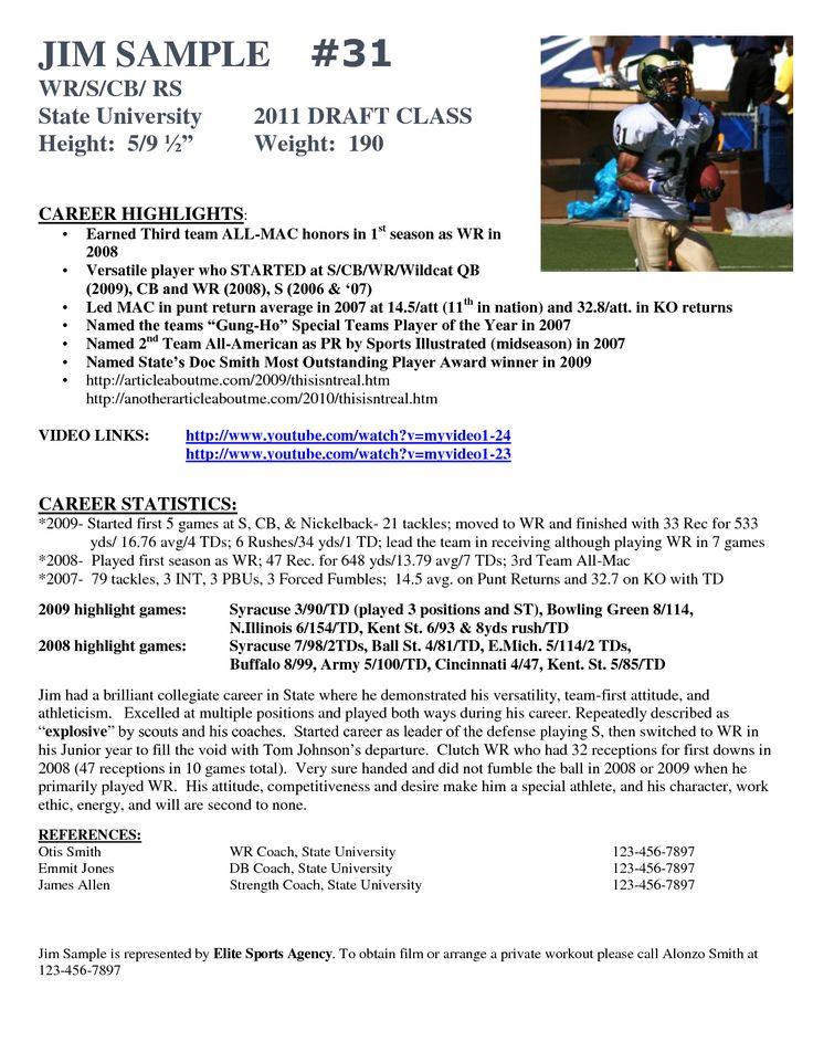 football player resume sample