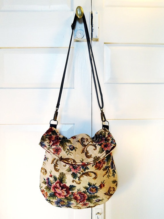 Recycled messenger bag cream floral roccoco by bagswithhistory, $58.00