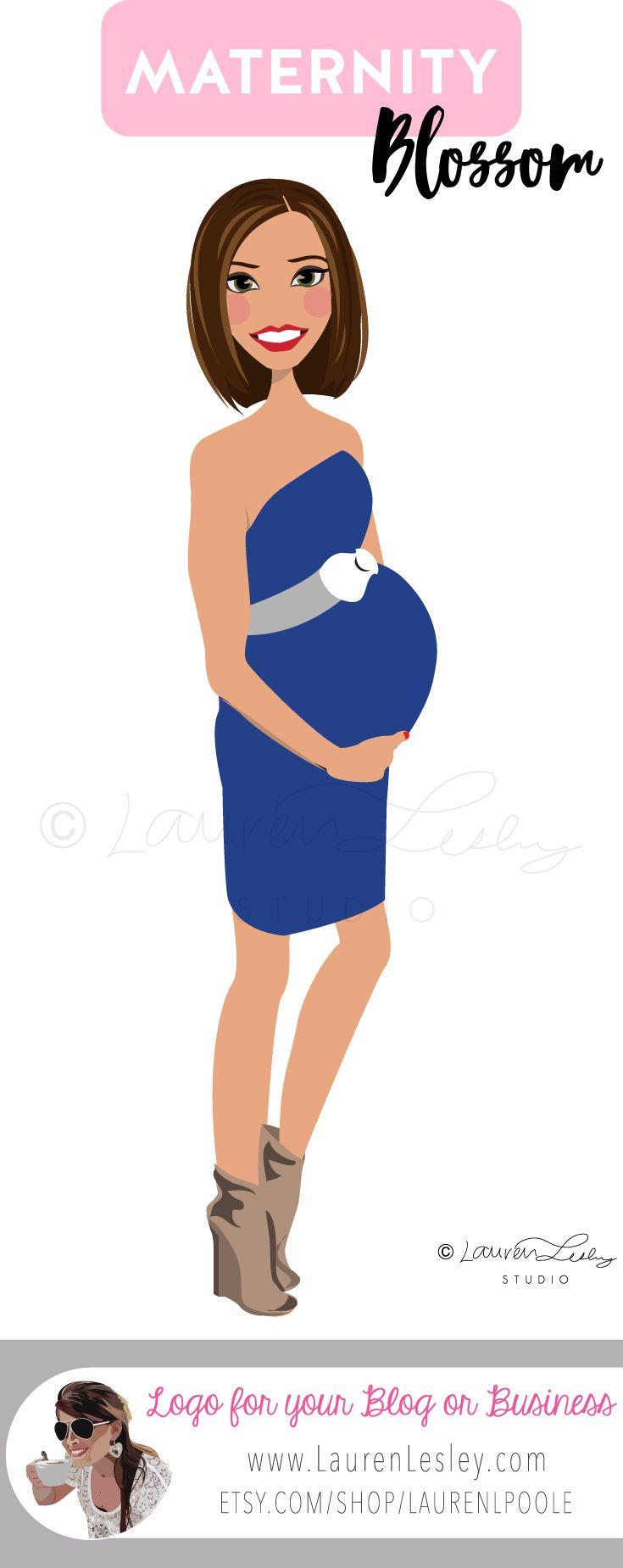 Maternity Portrait | New Mom | Pregnant Lady | Pregnant Woman | Pregnancy Logo | Logo for Blogger | Influencer Logo | Clip Art | Illustration | Design | Avatar | Custom Personalized Maternity Logo