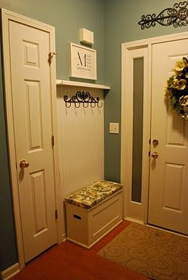 Tiny mudroom idea - even this would help in my mudroom - between the garage door and the window.