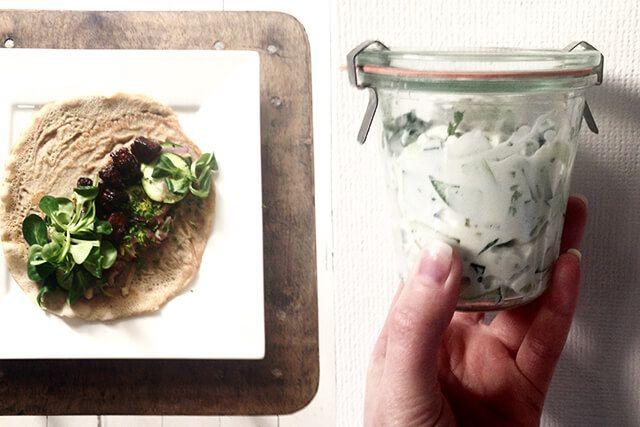 gezonde wrap met gezonde tzatziki recept, vegetarische wrap recept, glutenvrije wrap, boekweitwrap recept