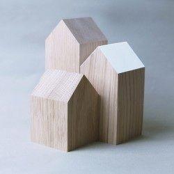 Houten decoratieve huisjes