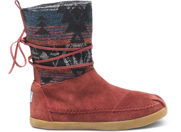 Toms Shoes Burgundy Suede Jacquard Nepal Boots