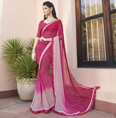 Pink Color Georgette Party Wear Sarees :  Shehnaz Collection  YF-42409