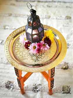 """Tiny """"tea tables"""" used to traditionally serve guests tea, but just the right size for my tiny Taj Mahal"""