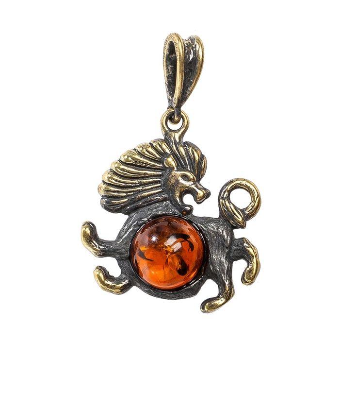 Подвеска «Знак зодиака-Лев» AM-676      Страна производства: Россия;   Материал: латунь/янтарь;   Высота: 4 см;          #pendants #brass #amber #кулон #подвеска #янтарь #латунь