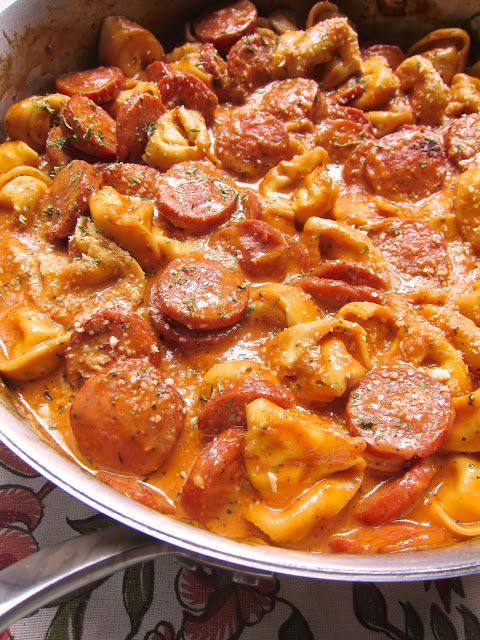 Cheesy Smoked Sausage Skillet - this was quick, easy, and delicious!! And Mike approved. I think you could use any type of meat: chicken, sausage, etc. I sub'd milk, butter and flour for the heavy cream. I also thickened up the sauce just a tad.