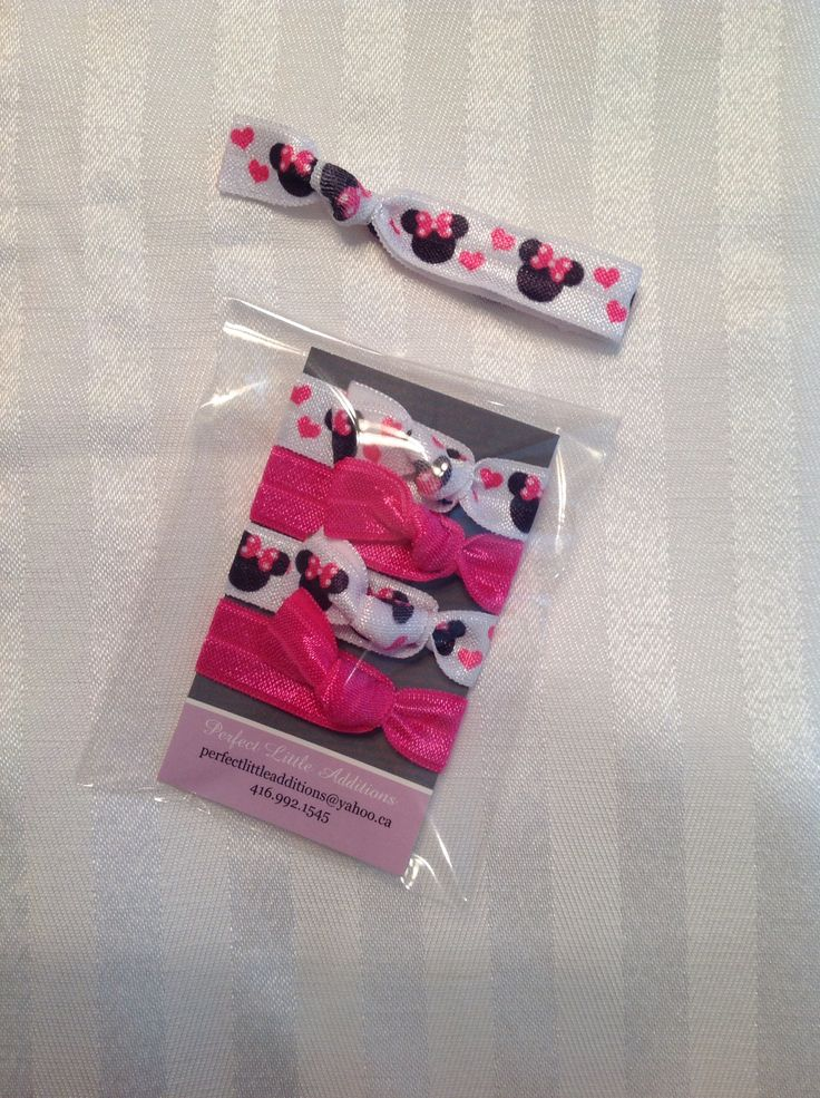Minnie inspired Elastic Hair Ties. Great for loot bags & stocking stuffers. Ends are heat sealed to prevent fraying. Hand tied in a pet-free/smoke-free home.                                                       Check us out on FaceBook: www.facebook.com/perfectlittleadditions