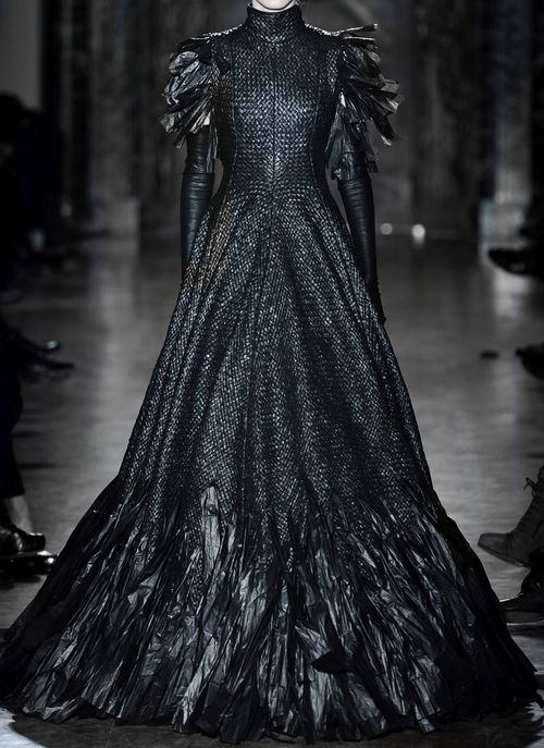 Gareth Pugh ... This is the dress I am wearing when I welcome home my breeding pair of Ayam Cemani chickens.