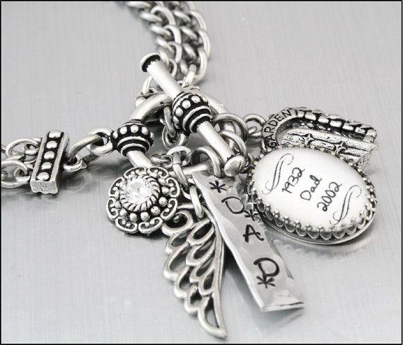 Memorial Custom Charm Bracelet Remembrance by BlackberryDesigns, $48.00