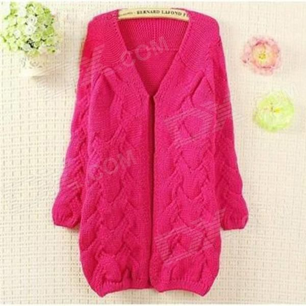 Fashion Wool Cardigan for Women - Deep Pink (Free Size)