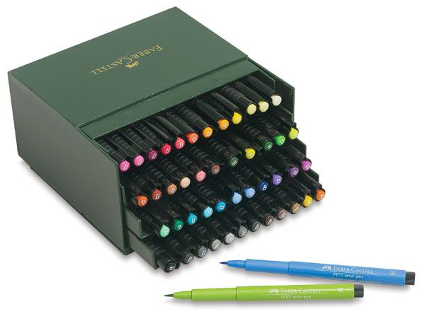 Faber-Castell Pitt Artist Pens Gift Box, Set of 48  Pigmented India Ink in multiple nib sizes and 48 colors brings great versatility to pen-and-ink drawings requiring lots of intricate details. The ink is waterproof, unsurpassably lightfast, acid-free, and pH-neutral.