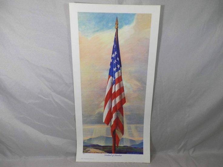 Vintage 1941 Sentinel of Freedom American Flag Print Adrian Brewer Patriotic Art