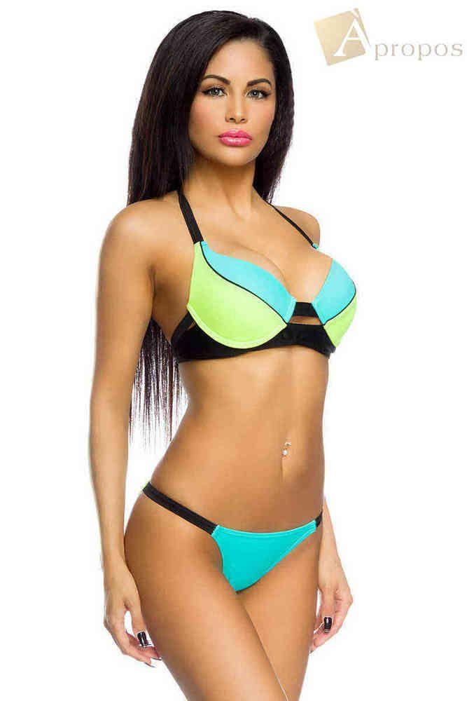 APROPOS Bikini Set Neckholder Push Up Mehrfarbig Türkis Grün 34,36,38
