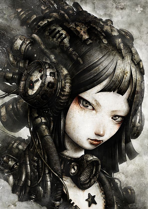Amazing Steampunk x dystopian x cybernetics character designs by shichigoro-shingo