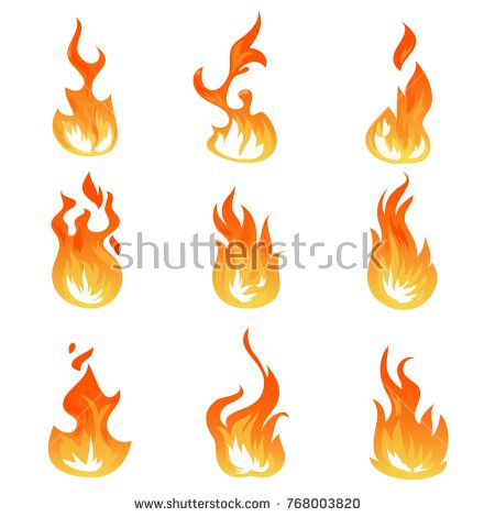 Stock Vector: Cartoon fire flames vector set. Ignition light effect, flaming symbols. Hot flame energy, effect fire animation illustration -