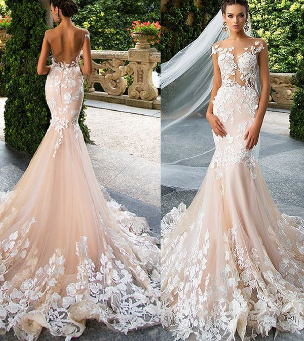 2017 hot floral lace wedding gowns