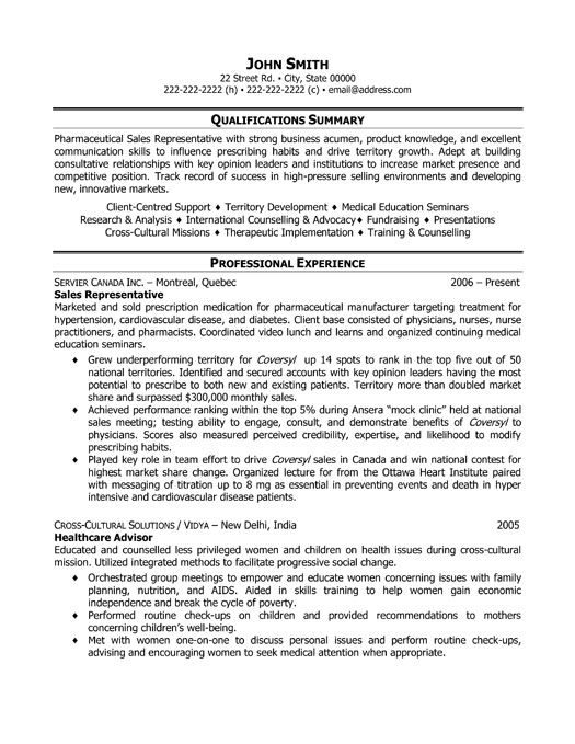 Pharmaceutical Sales Resume Example - Examples of Resumes