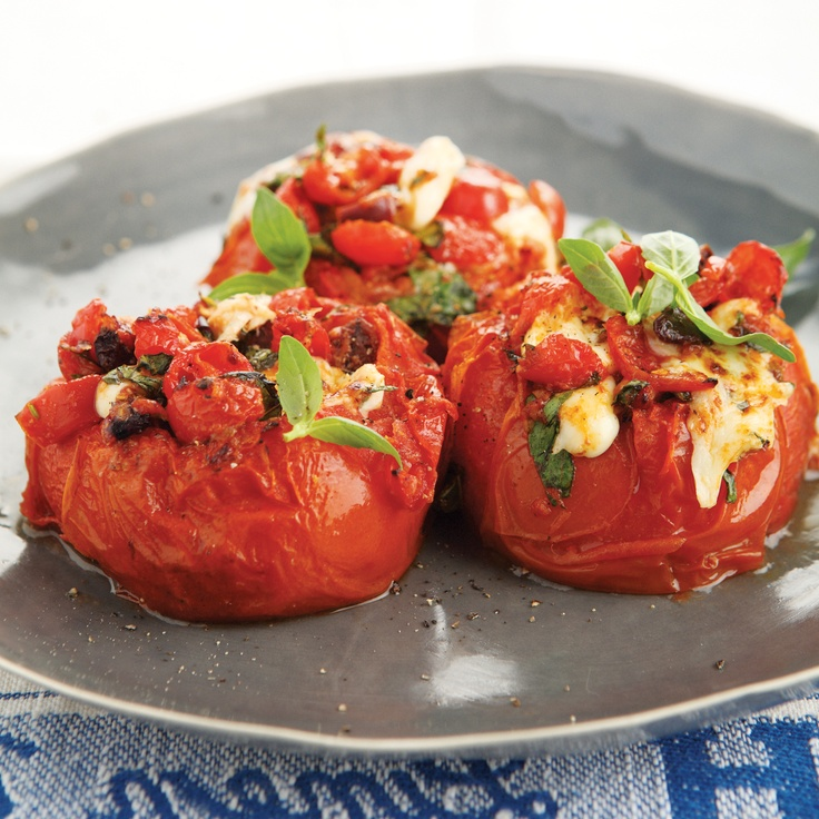 Provencale Stuffed Tomatoes - a wonderful vegetarian dish. Check it out on page 70 of #FoodinaFlash, available from www.atv.co.za. #cooking #Provence #tomatoes