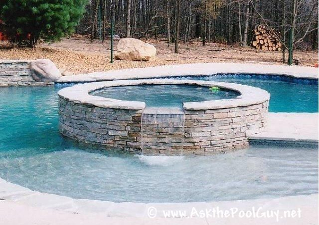 Spillover Spa Michigan Gunite Pool Waterfall Spa Legendary Escapes Pools Pinterest