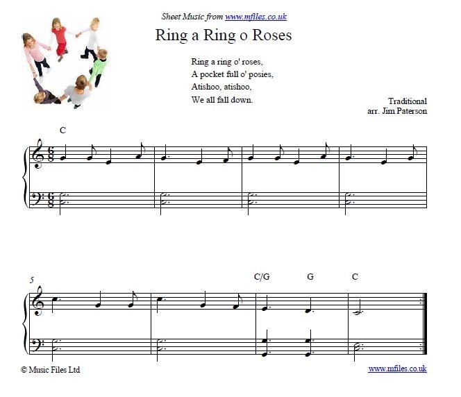 Ring A O Roses Nursery Rhyme Piano Sheet Musicmusic