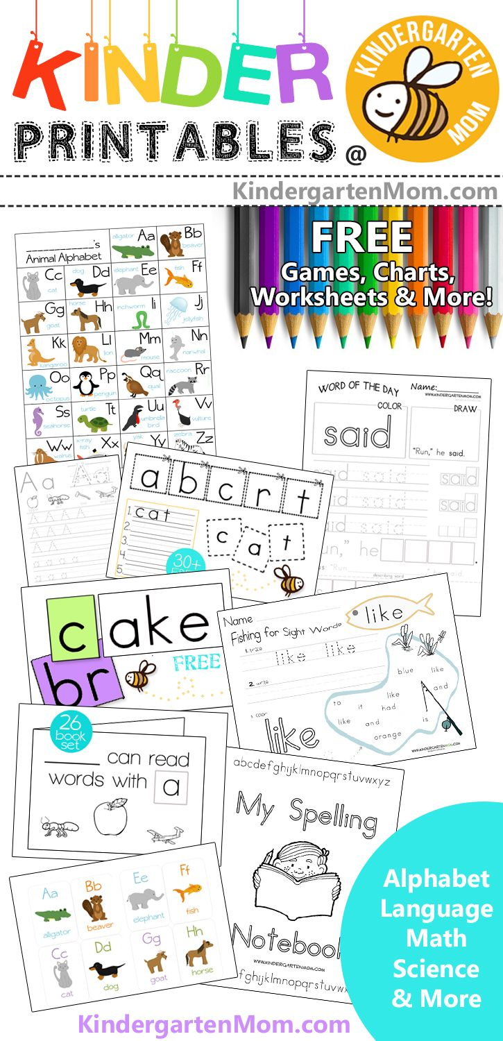 Free Kindergarten Printables. Language, Math, Science, and More!