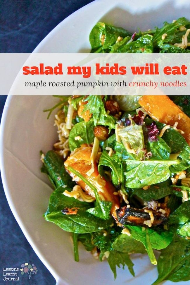 Recipe for Maple Roasted Pumpkin Salad with Crunchy Noodles. Salad my kids will eat. via Lessons Learnt Journal.