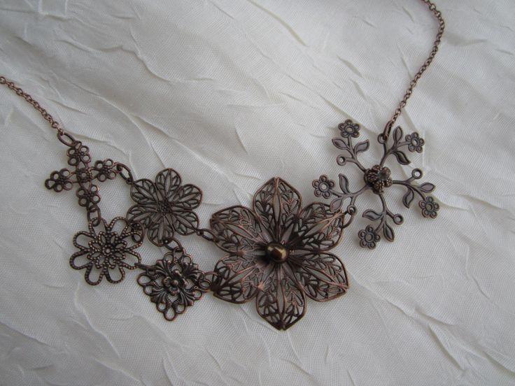 Antique copper filigree necklace
