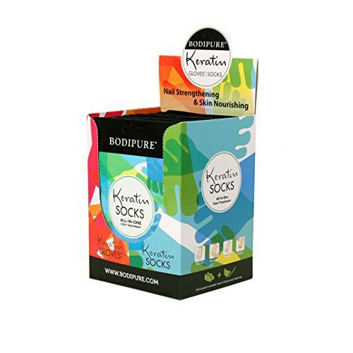 Product review for NEW Keratin Socks All-In-One Foot Treatment - 12 pk  - A revolutionary way to save time and money on pedicures! Formulated with 100% vegetable active ingredients derived from renewable sources. Slip on Out self-activating, Keratin rich socks loaded with intensive, fortifying emulsion to strengthen nails, moisturize feet, soften heels and cuticles,...