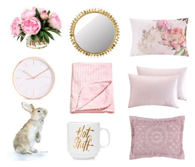 """easter pink"" by emily-lithen on Polyvore featuring interior, interiors, interior design, home, home decor, interior decorating, Ted Baker, Sparrow & Wren and Safavieh"