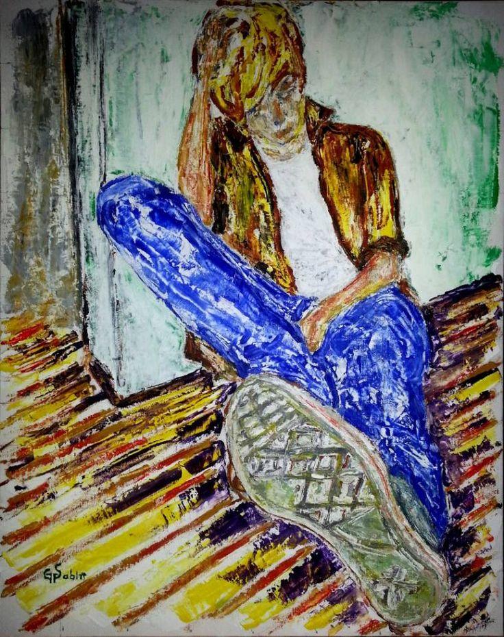 "Saatchi Art Artist George Sabin; Painting, ""Thoughtful"" #art"