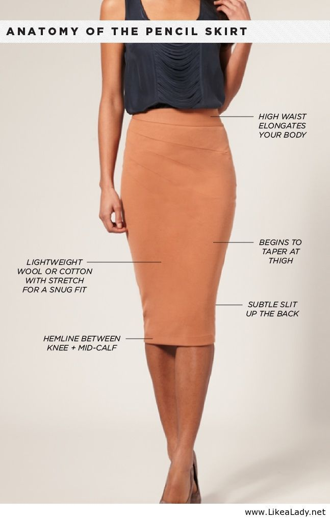 Anatomy of the Pencil Skirt...speaking of anatomy her body looks stretched but great combo!