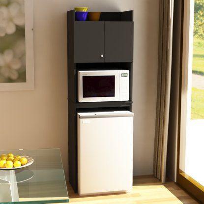 Ameriwood Over-the-Refrigerator Storage Cabinet - Black - Microwave Carts at Hayneedle