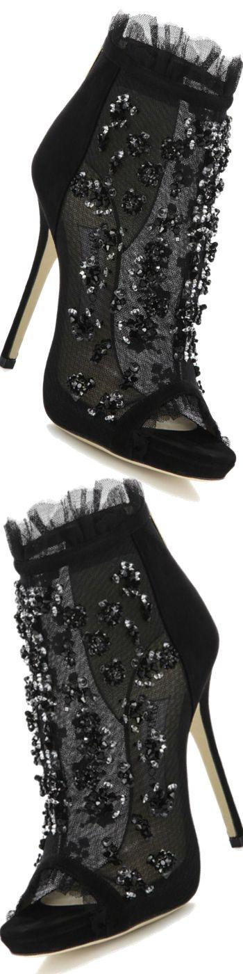 Jimmy Choo Keri Embroidered Mesh & Suede Booties    <>  @kimludcom  <>  www.kimlud.com