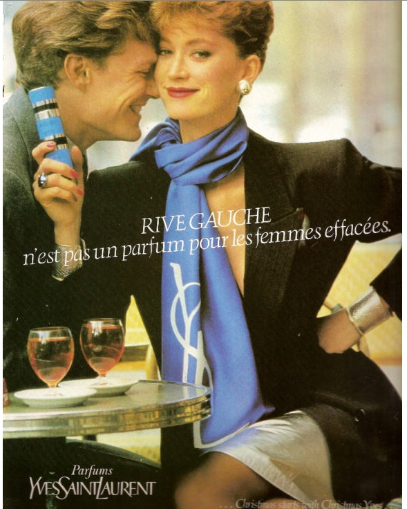 YSL Rive Gauche Perfume Ad. My friend and I wore this in high school in the '70s...memories...the blue, silver and black  .