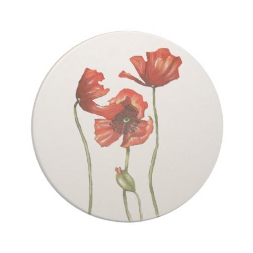 Red Poppy Floral Design Coaster