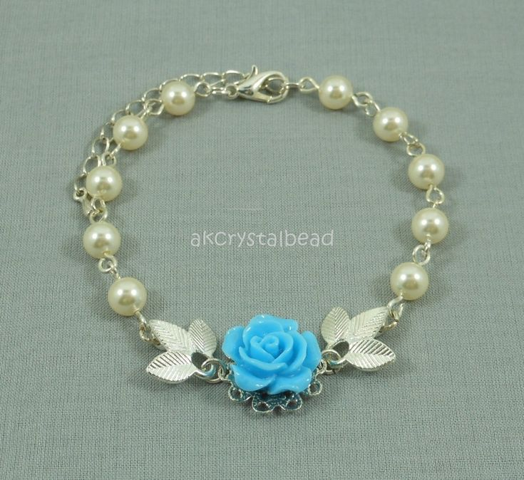 Swarovski cream pearl and blue rose flower cabochon bracelet.  FSM0078