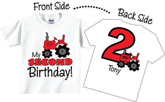 2nd Birthday Shirts with Red Tractor for Boys Tees by TheCuteTee, $14.95