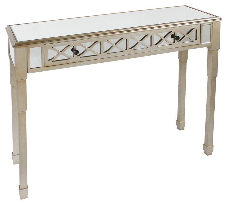 Splendid #mirrored wooden #console in #champagne color. www.inart.com