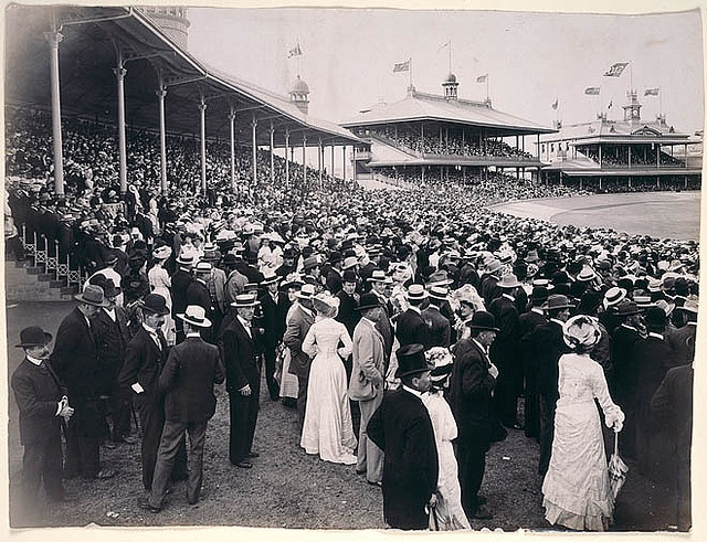 Sydney Cricket Ground, Saturday 14 December 1901 / by unknown photographer    Notes: Find out more about our passion for cricket at Discover Collections - Cricket in Australia: http://www.sl.nsw.gov.au/discover_collections/society_art/cricke...    From the collections of the Mitchell Library, State Library of New South Wales http://www.sl.nsw.gov.au    Persistent url: http://acms.sl.nsw.gov.au/item/itemDetailPaged.aspx?itemID=153370