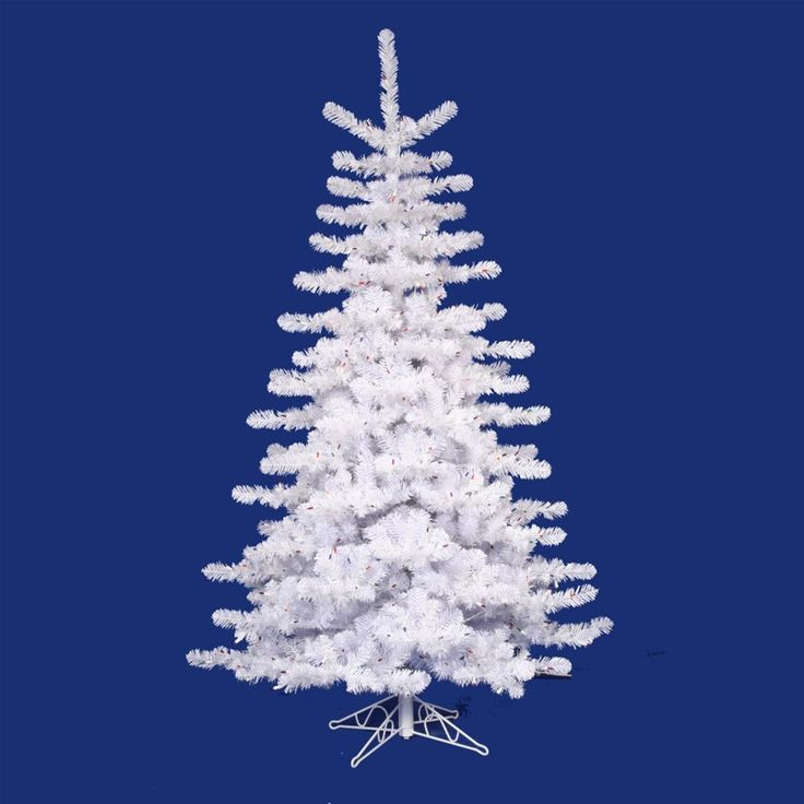 9'Crystal White Artificial Christmas Tree with Clear Lights