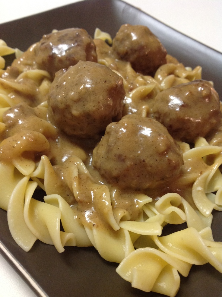Swedish Meatballs - Wow, AMAZING meatballs! First time I ever made them and they came out wonderfully. I only used beef, didn't have nutmeg or jam on hand, and instead of heavy cream, I used sour cream. I paired my meatballs with mashed potatoes and green beans. My husband said these were better than my Salisbury steak, which is also an amazing dish. Highly recommend and will make again!