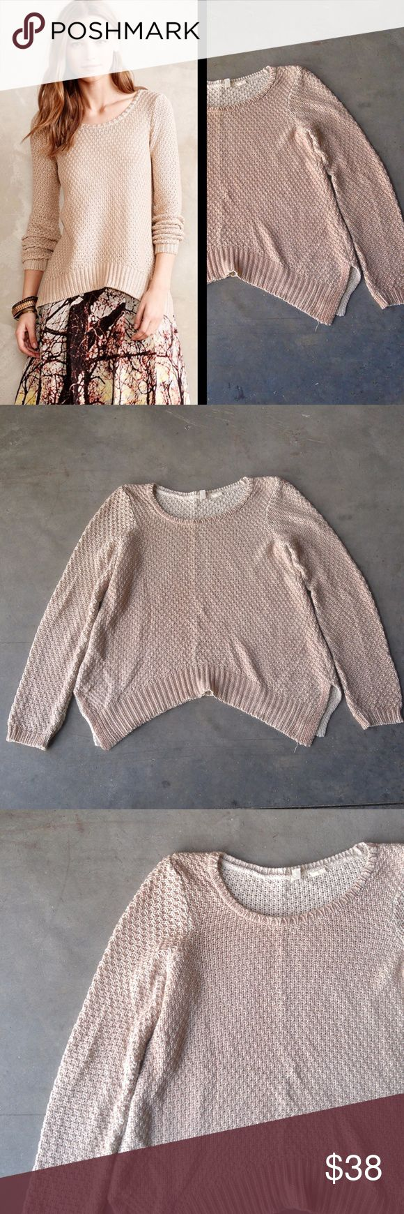 Moth Shimmer Stitch Pullover in Natural Moth sweater from Anthropologie, size medium, in excellent condition! Medium-weight knit with metallic bronze throughout. Longer sides and shorter center. Side slits at bottom hem, scoop neck, and full-length sleeves. Cover photo from Anthro website. No trades. No modeling. Make a reasonable offer. Thanks! Anthropologie Sweaters Crew & Scoop Necks