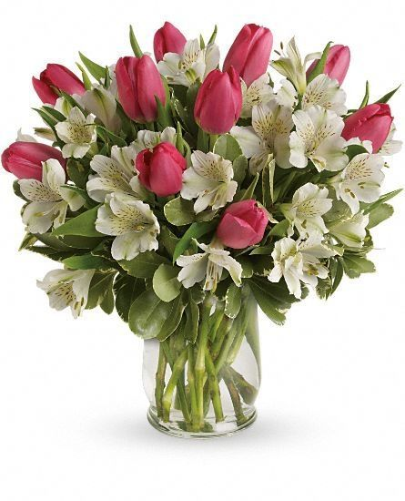 Valentine Romance Bouquet - Veldkamp's Flowers | Denver Florist | Fresh Cut Flowers | Nationwide Same Day Flower Delivery.  It's the season for romance. Brimming with lovely tulips and alstroemeria, this bouquet in a classic glass hurricane celebrates the beauty of Valentine's Day.  It's the season for romance. Brimming with lovely tulips and alstroemeria, this bouquet in a classic glass hurricane celebrated the beauty of Valentine's Day