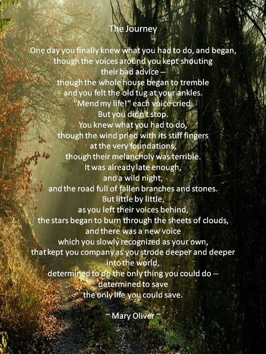 The Journey by Mary Oliver My favorite poem since I first ...