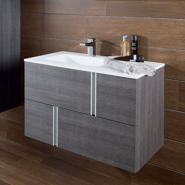 Porcelanosa Travat Fume Wall Mounted Wash Basin Unit 80cm | Travat | Gamadecor Bathroom Collections | Porcelanosa | Shop By Brand | Tiles and Bathrooms Online