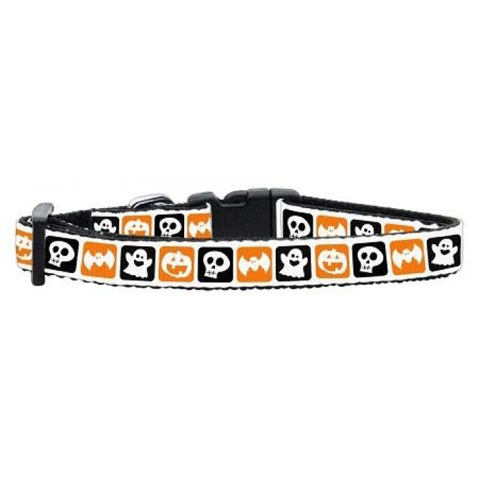 """Classic Halloween Nylon Ribbon Collar Small  This 3/8"""" wide size small dog collar is made of durable nylon with a high quality ribbon overlay. It is adjustable to fit a neck size from 10-14""""."""